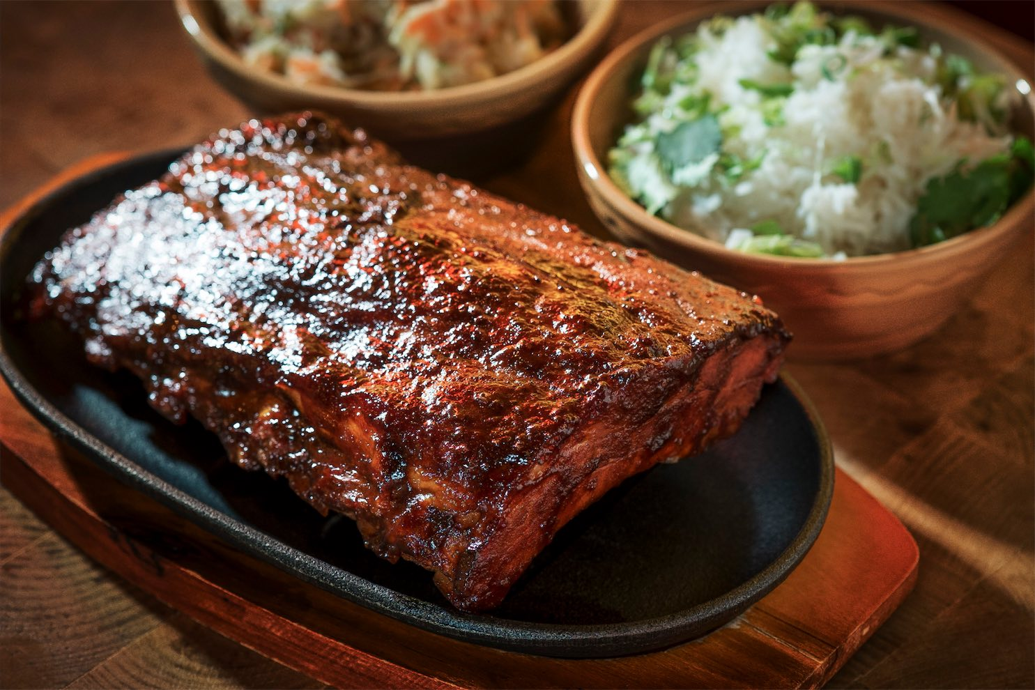 BBQ'd Swwt and Sour pork ribs at the Fat Pig by Tom Aikens