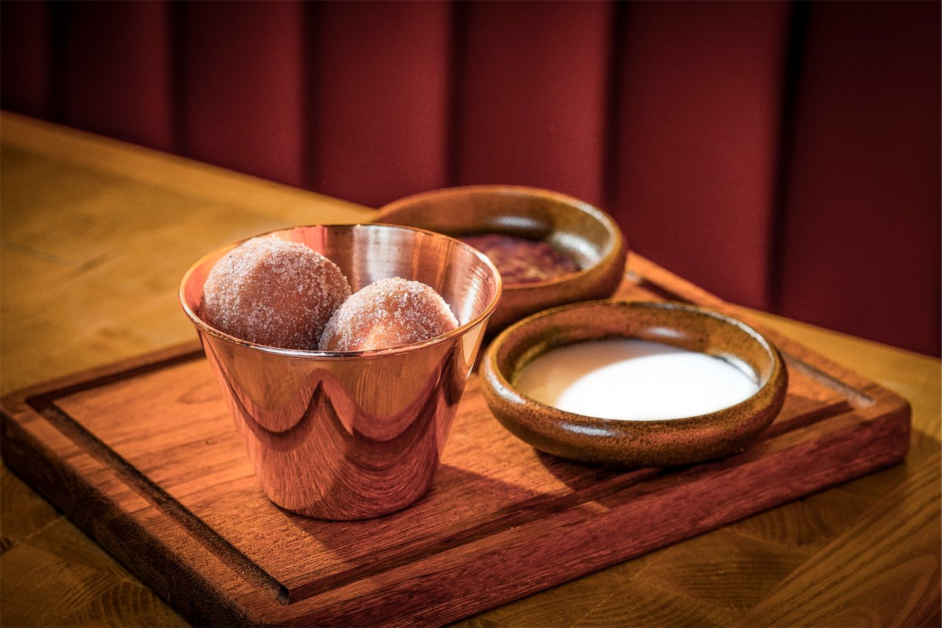 Rasberry donuts at the Fat Pig by Tom Aikens