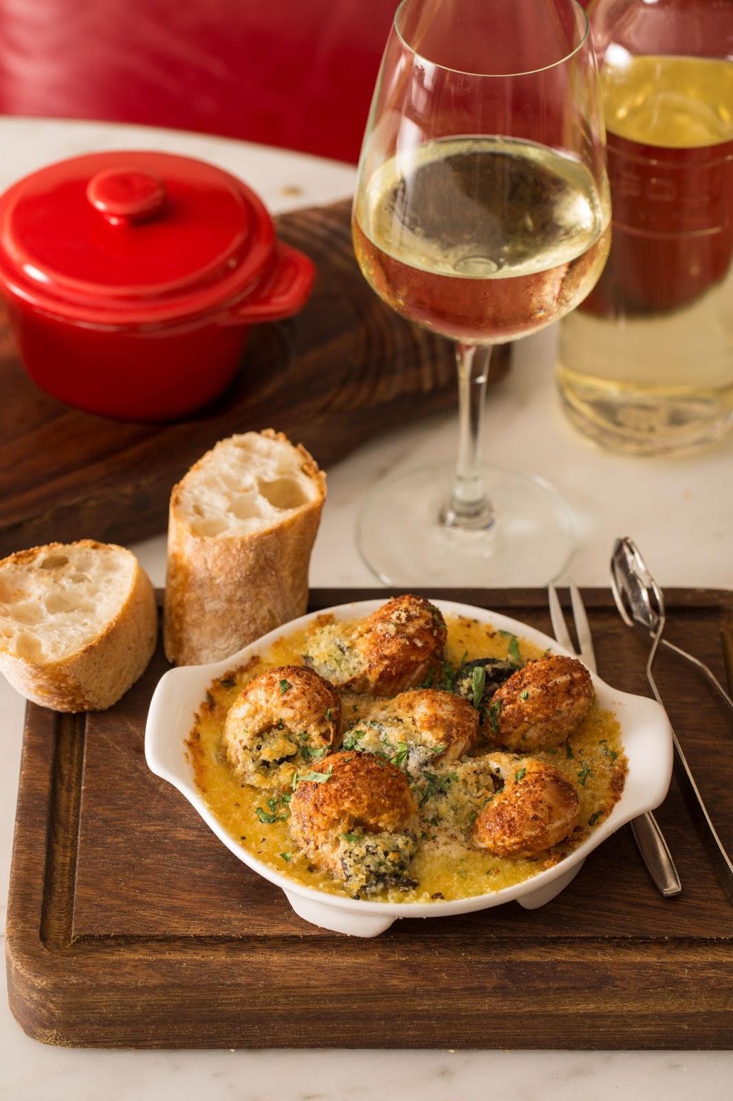 Plat du Jour, Escargot, Friday seafood feast, seafood, mashed potato, garlic