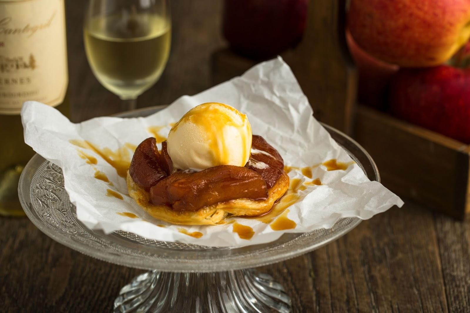 steak frites, apple tart, Apple Tarte Tatin, signature desserts, vanilla ice cream, caramel, pastry, puff pastry, deserts, French dessert, French