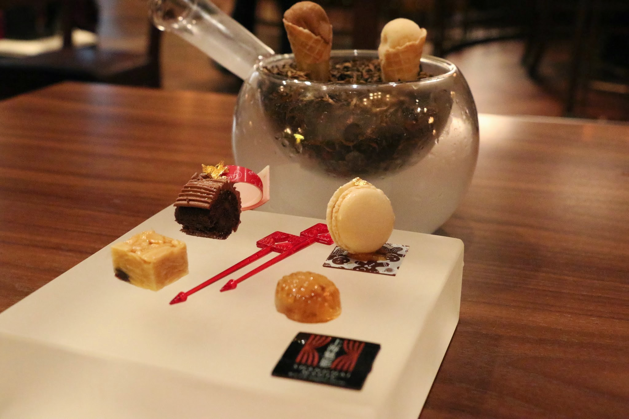 Shanghai Magic, Studio City Macau, Petit Fours, Milk Tea Sorbet, Yuzu ice cream cone, durian macaron, chocolate brownie