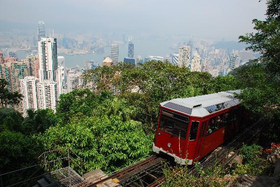 the peak tram, tram, the peak, hong kong peak, victoria peak