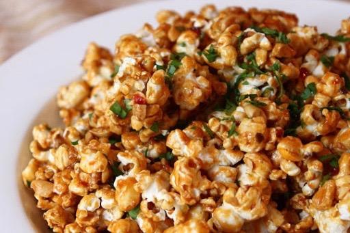 pad thai, popcorn, food wishes