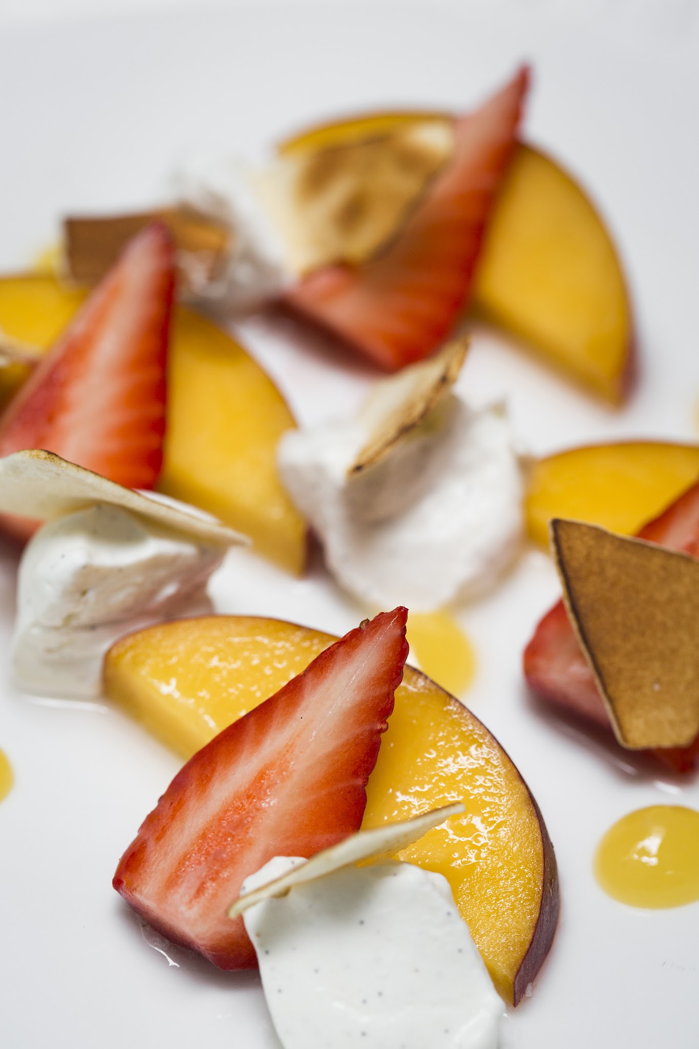 Arcane, Australian Day Menu, Poacked Peach, Strawberries, Meringue