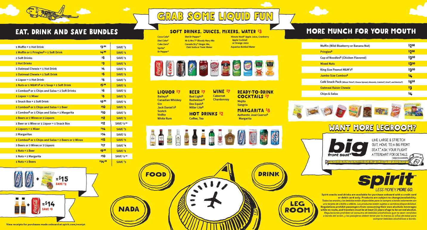Spirit Air food menu