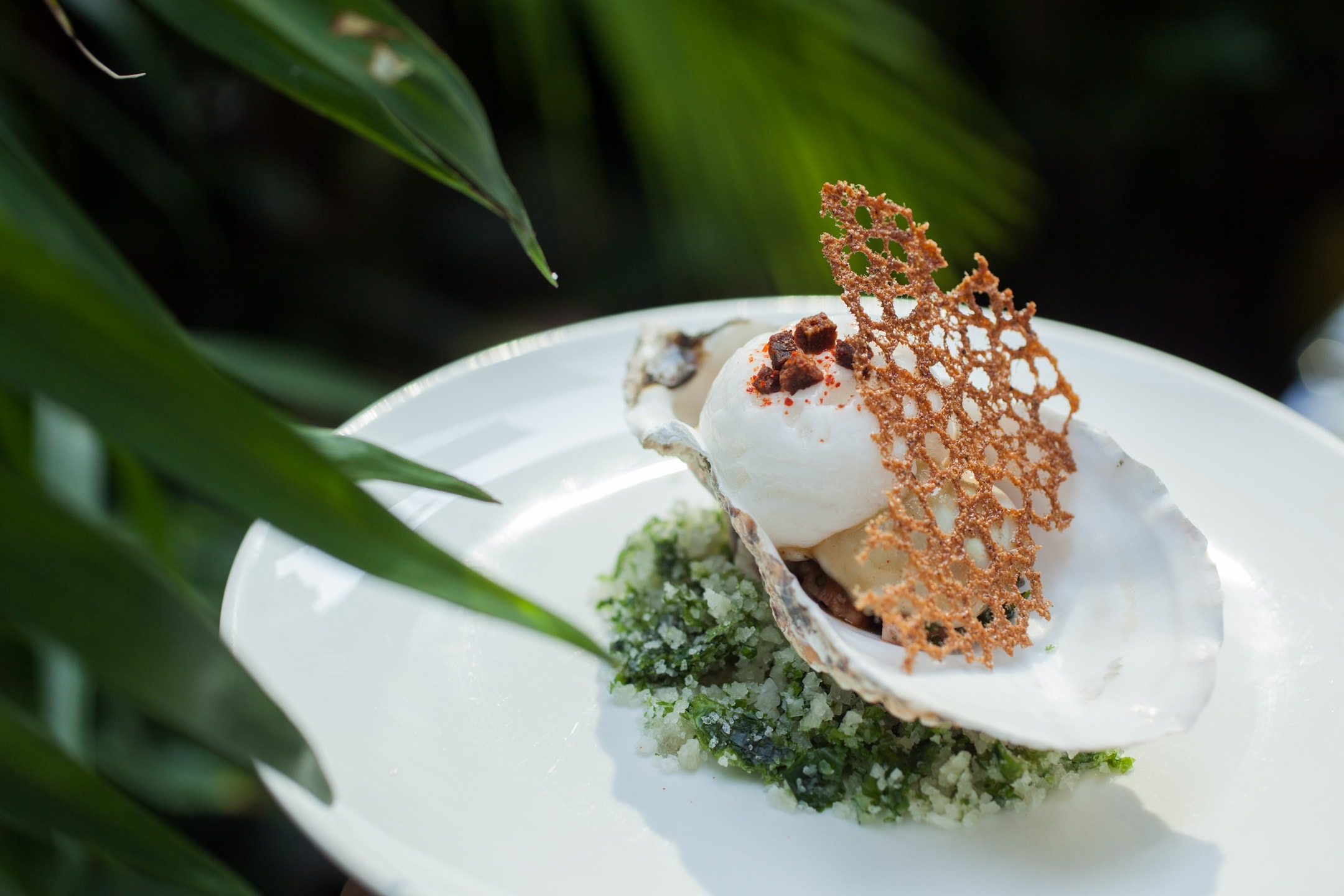 Taste of Hong Kong - Amber's Ebisu oyster with seaweed, potato & shallot slaw in tomato cloud with chipolata crumble