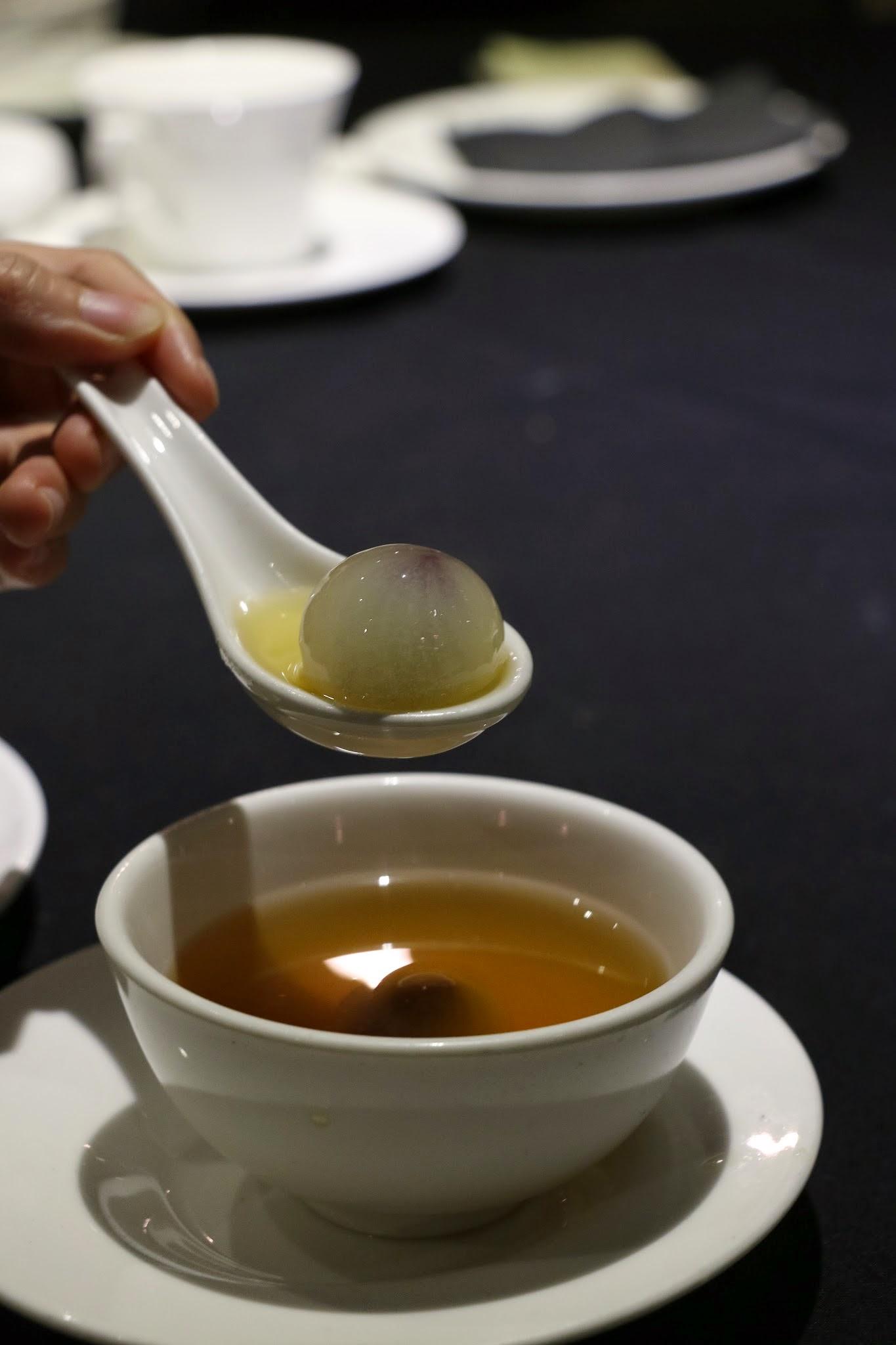 Shanghai Lo, Crab Kitchen, Purple sweet potato dumplings, ginger soup