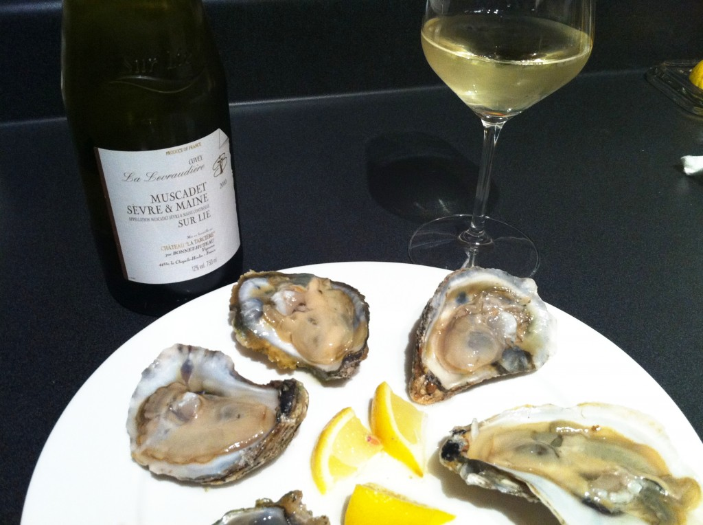 Muscadet wine pairs very well with oysters