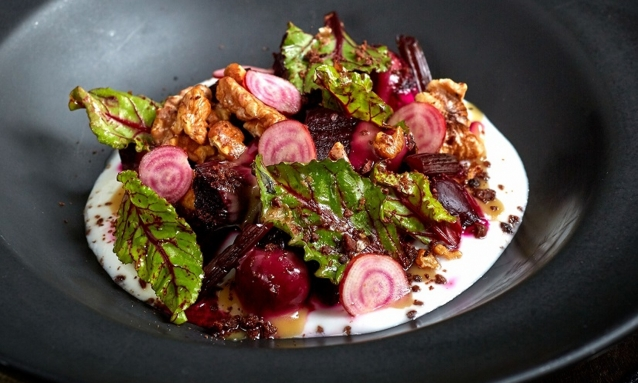 poached beetroot, pickled stem, whipped goat's curd and toasted walnuts at 208