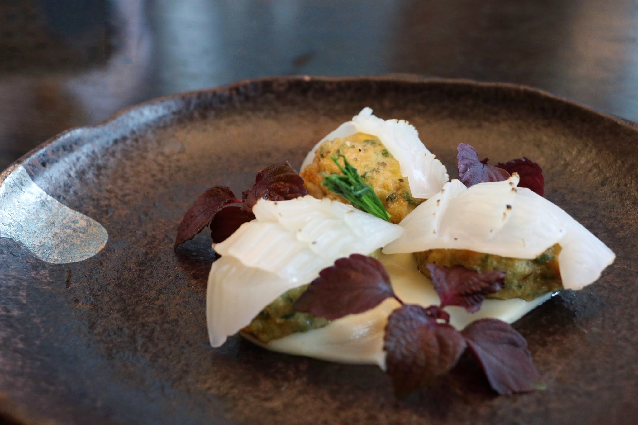 Armani Aqua Aburi Ika Seafood Balls with Celeriac Puree