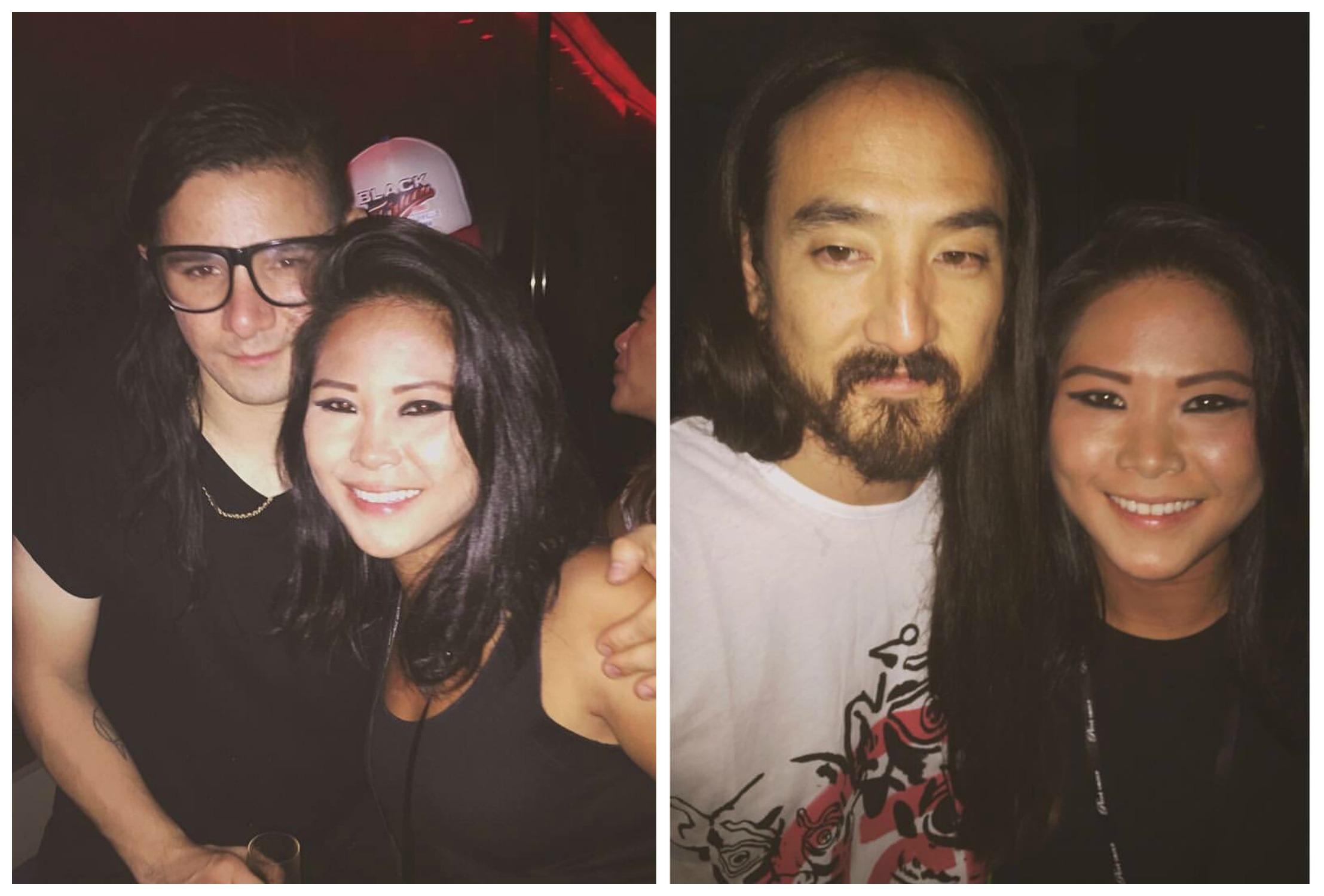 Yasmin with Skrillex, Steve Aoki