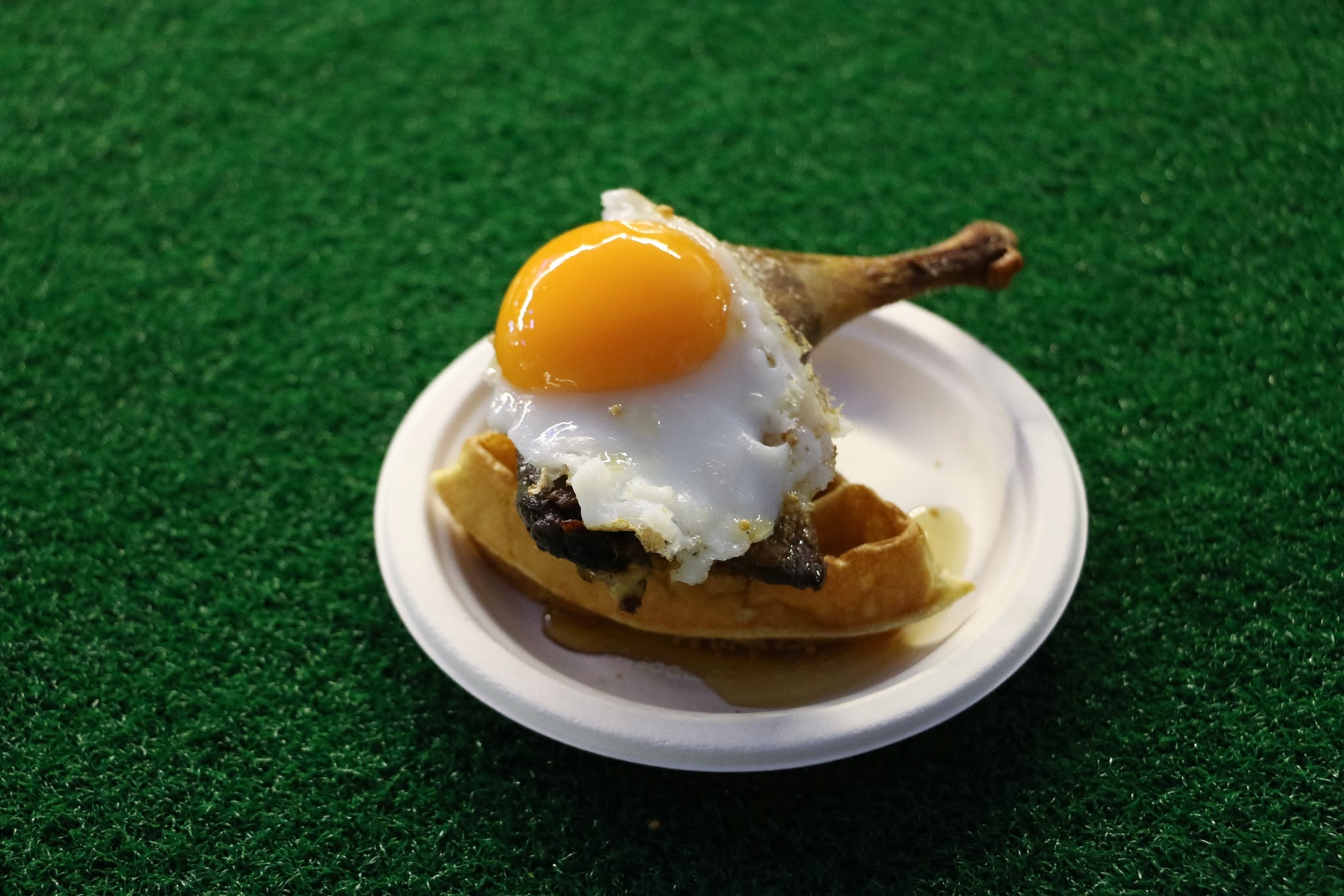 Taste Festival, Taste of Hong Kong, Duck & Waffle Crispy leg confit, fried duck egg, mustard maple syrup