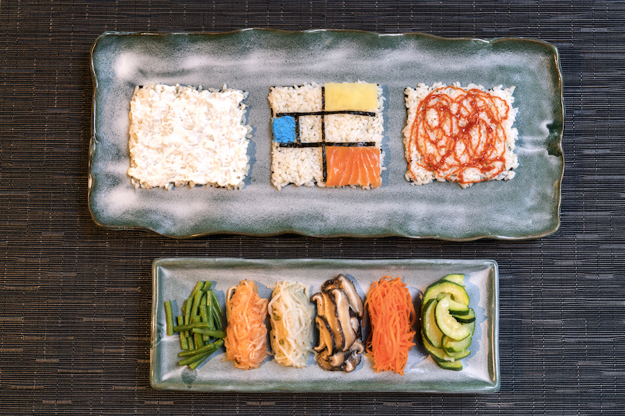 Modern Korean Kimbap Art at Jinjuu