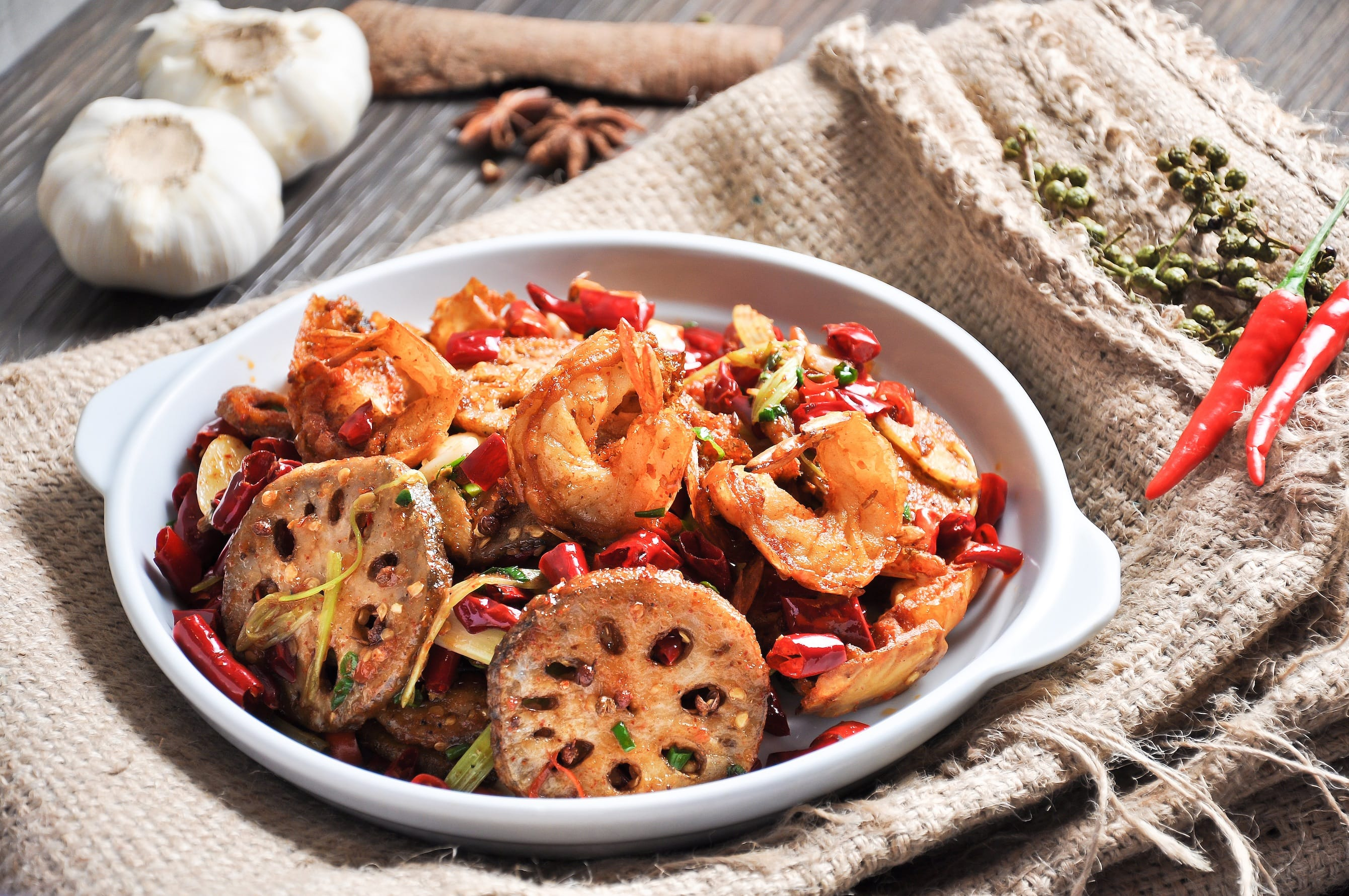 Spicy Fried Prawns with Lotus Root