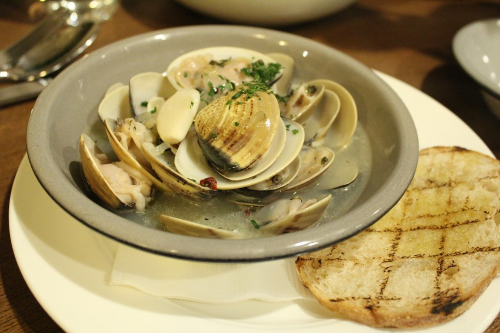 White Wine Poached Clams with garlic and fresh herbs