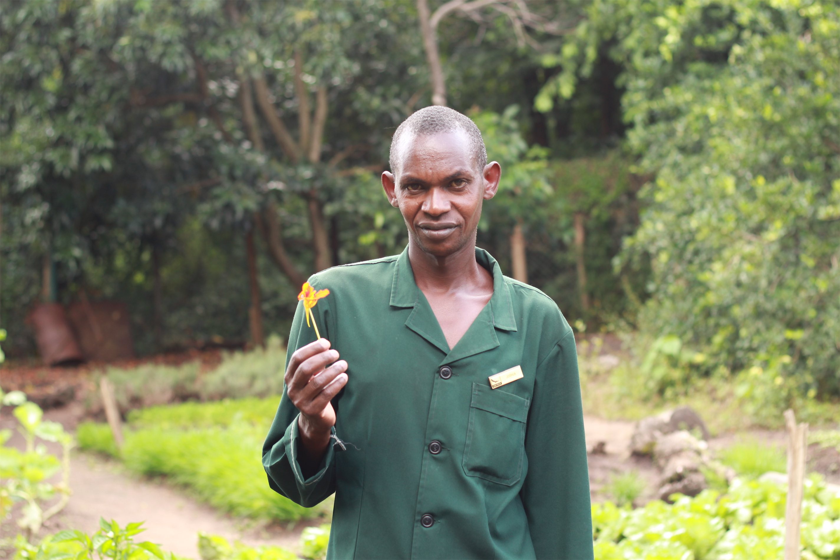 Joseph, who tends the gardens, at Kichwa Tembo