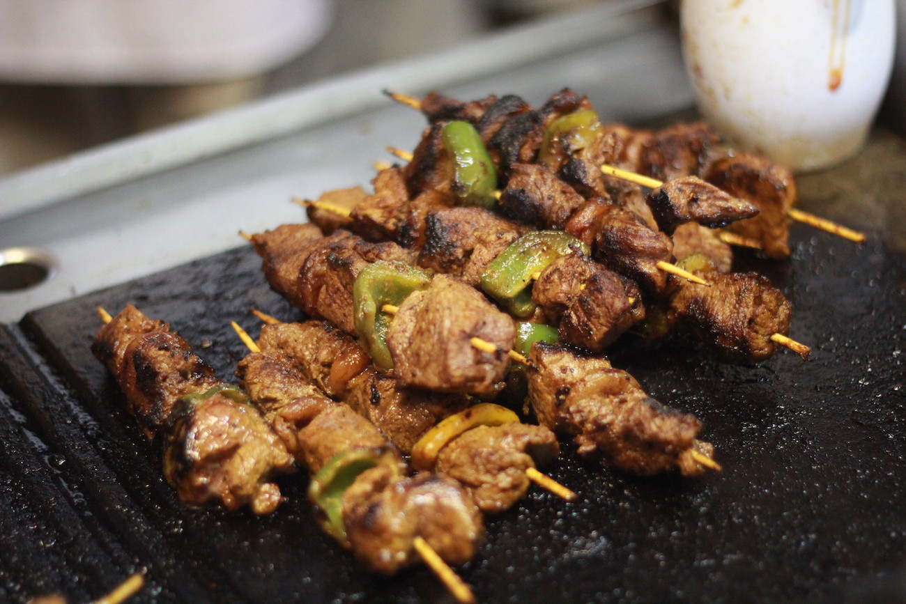 skewers cooked 'brai' style with Kenyan beef