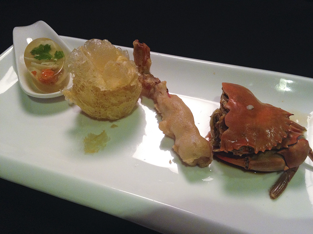 Chilled Crab Claw Jelly, Crispy Crab Cake with Mashed Potato, Snow Crab Claws in Sichuan Style, and Marinated Crab with Huadiao Wine and Dried Plum