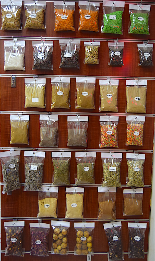 They also sell these spice powders in little plastic packets which are stuck on the walls and doors of the alley way.
