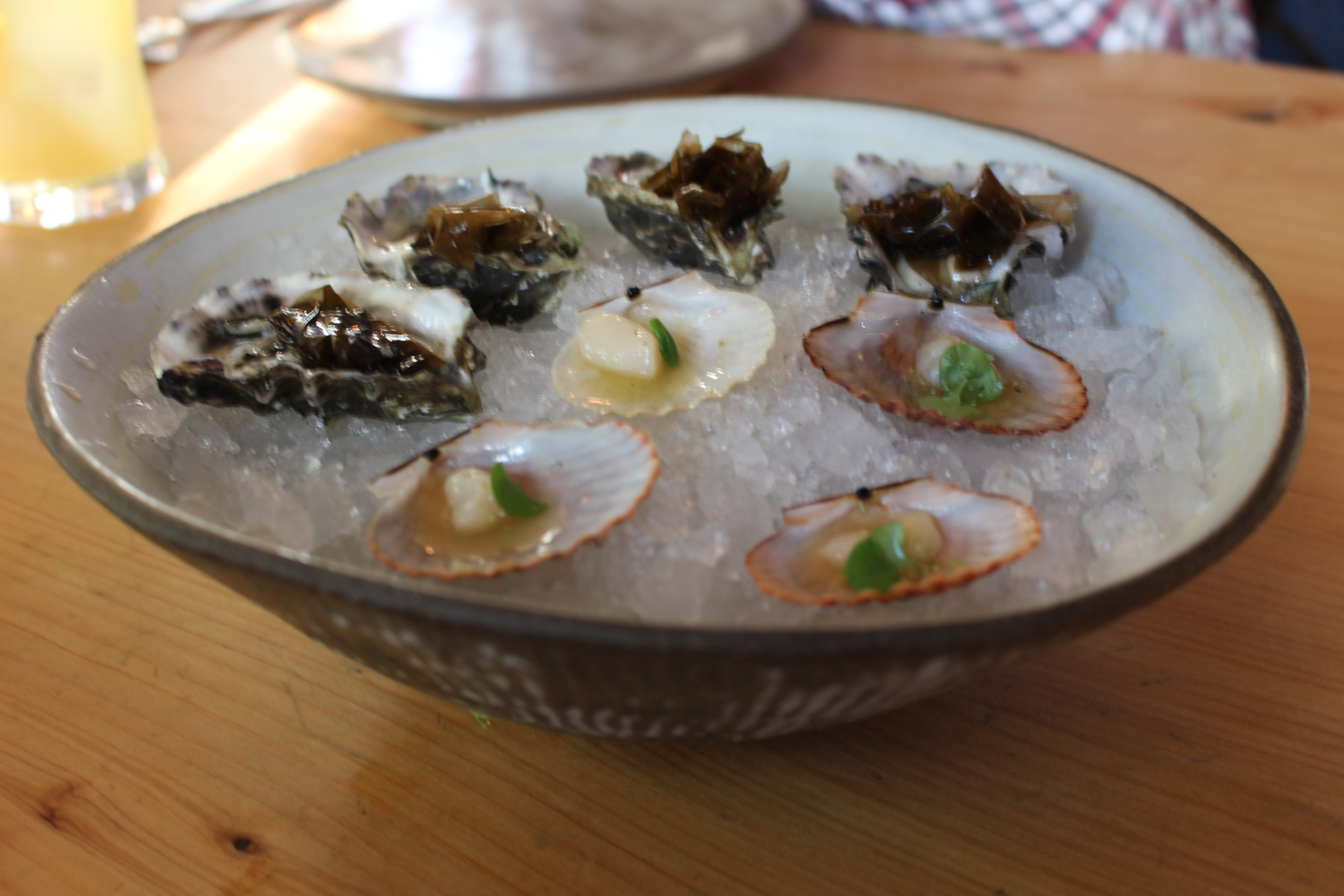 Hog Island Oysters (top) and Taylor Bay scallops (bottom).