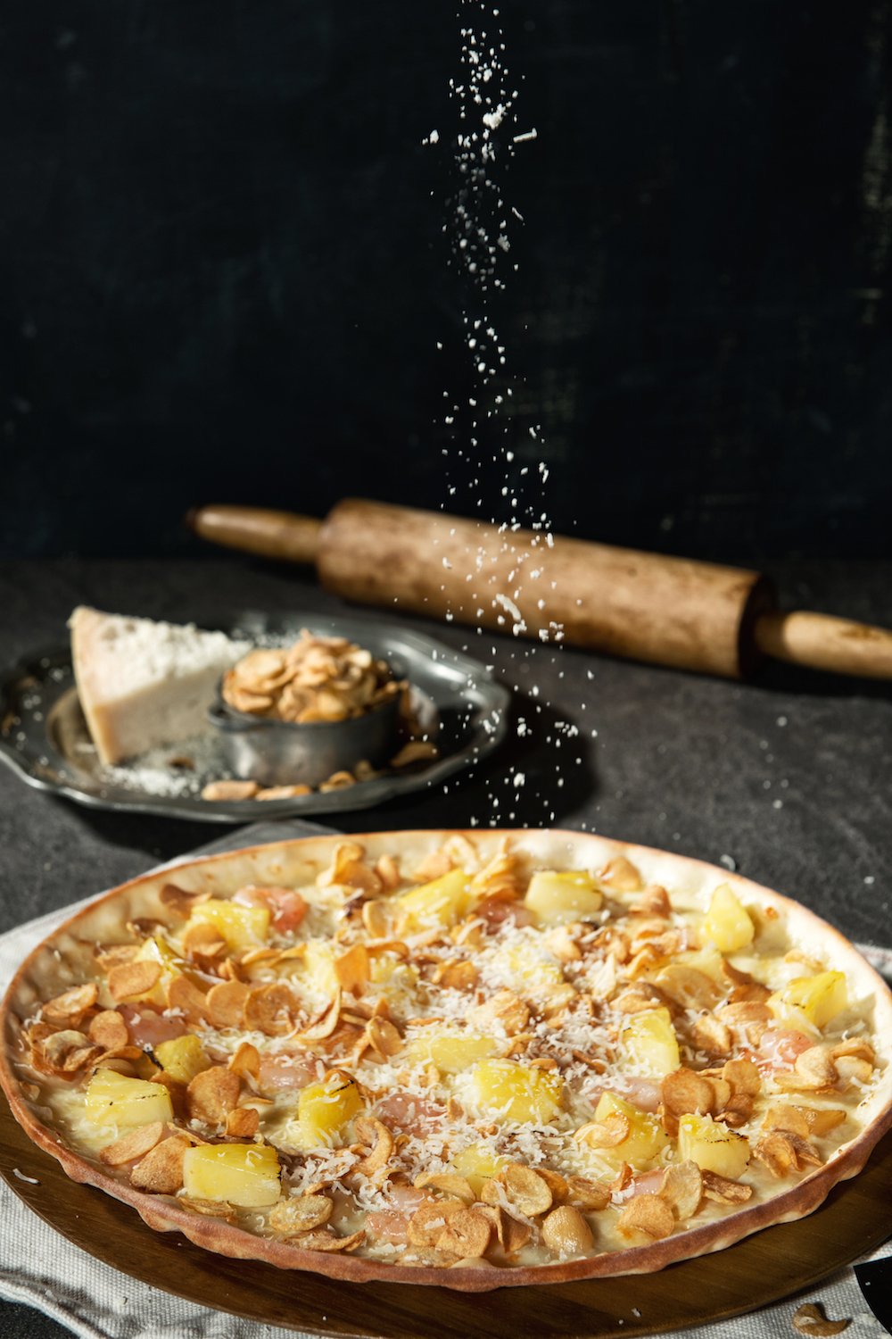 The Garlic Snowing Pizza ($108)