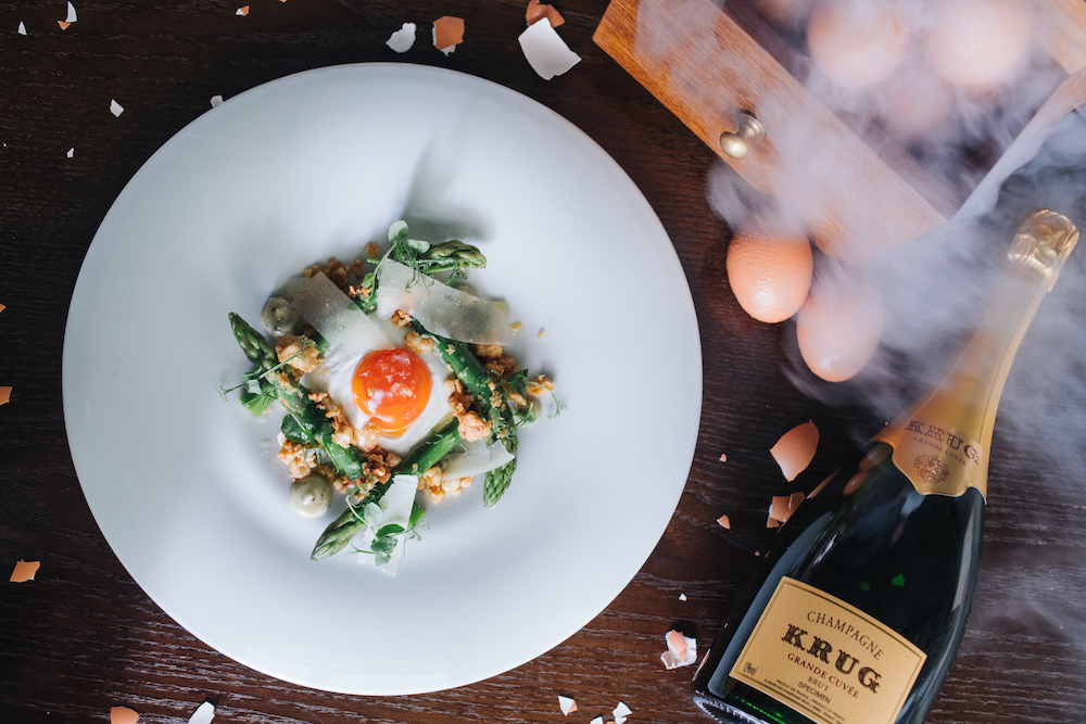 Image: Smoked Egg and Asparagus with Truffle, Parmesan and Hazelnut dressing