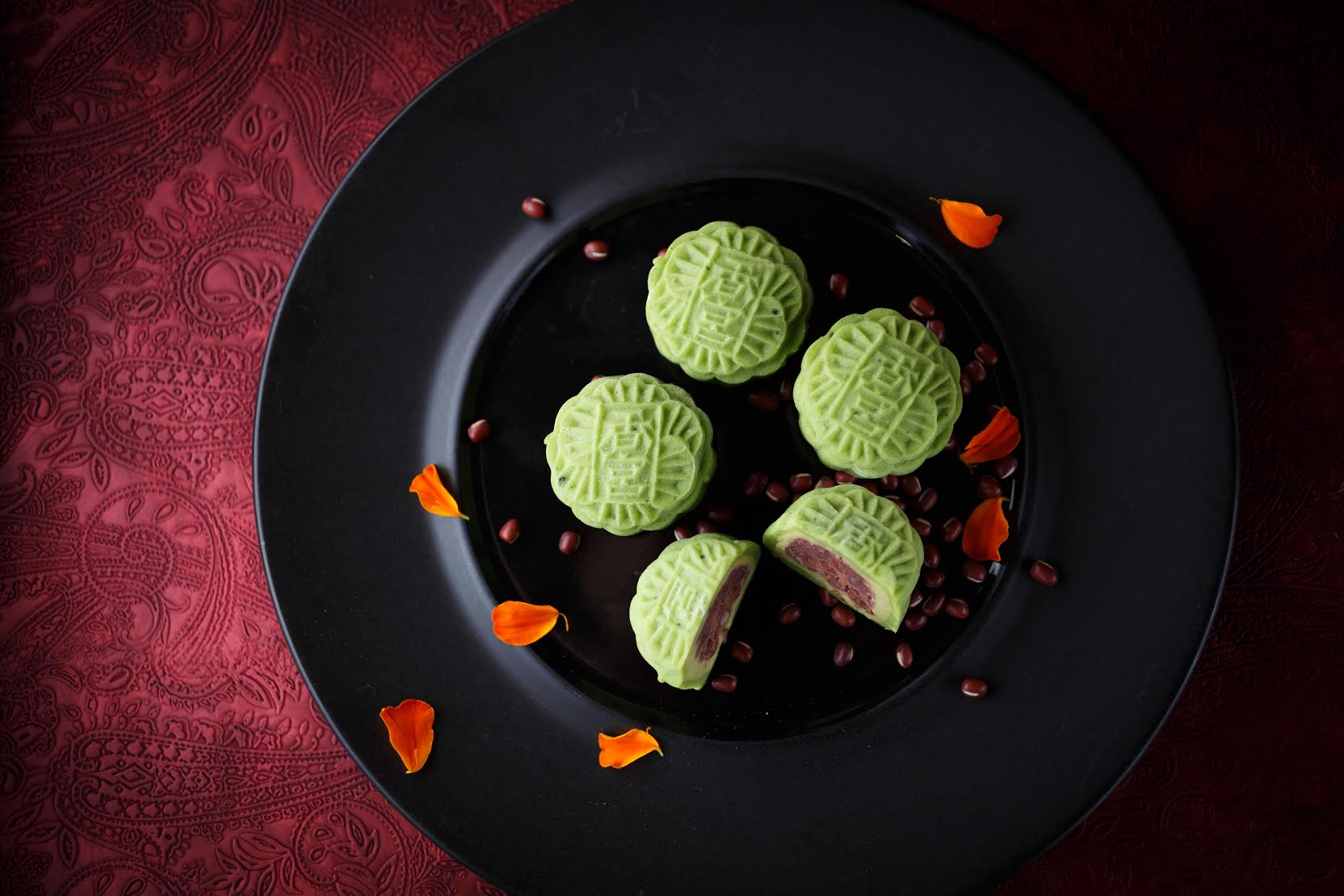 Green-Tea-Flavoured Snowy Mooncake with Tokachi Red Bean and Green Tea Paste