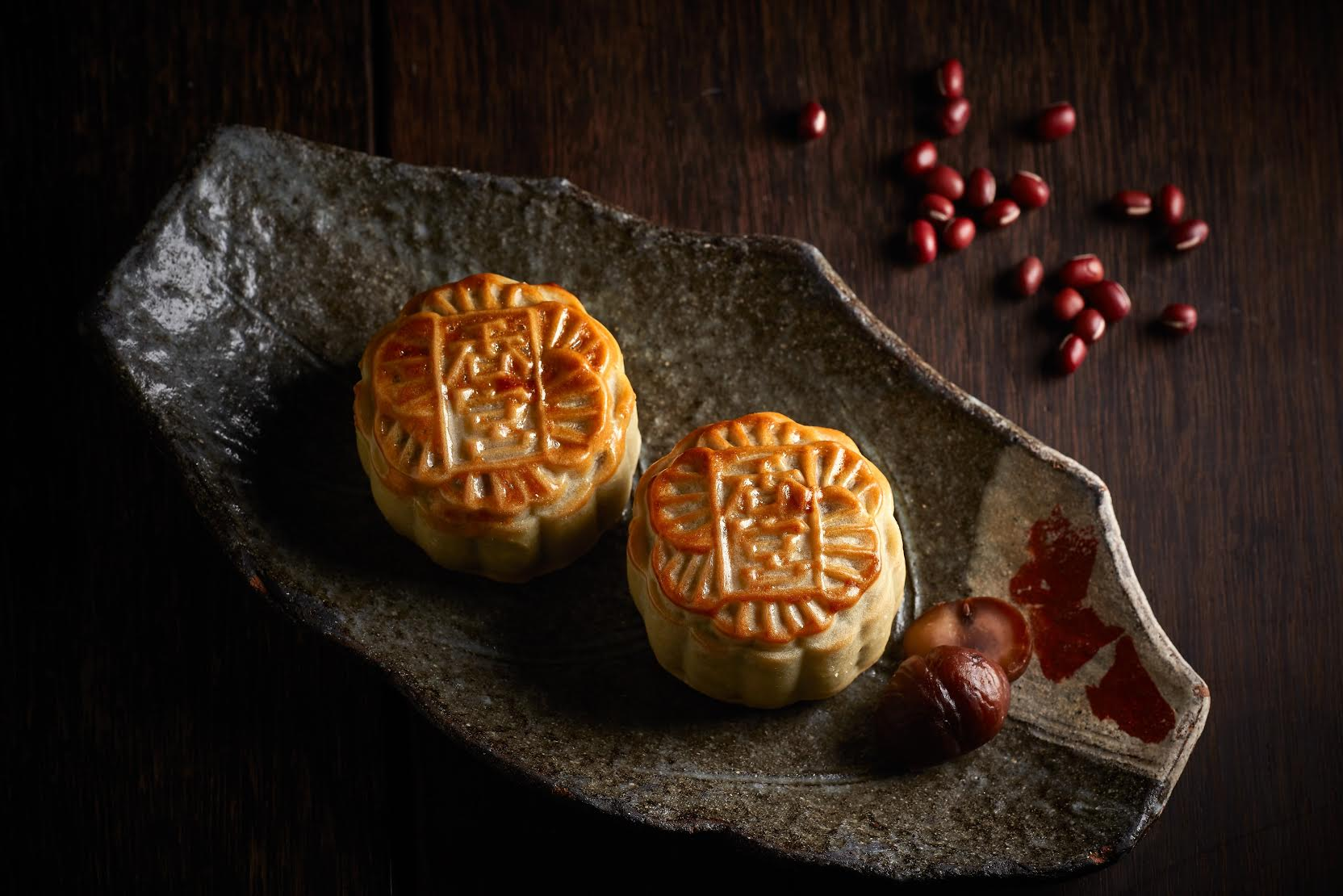 Uji Matcha Mooncake with Red Bean and Chestnut Paste