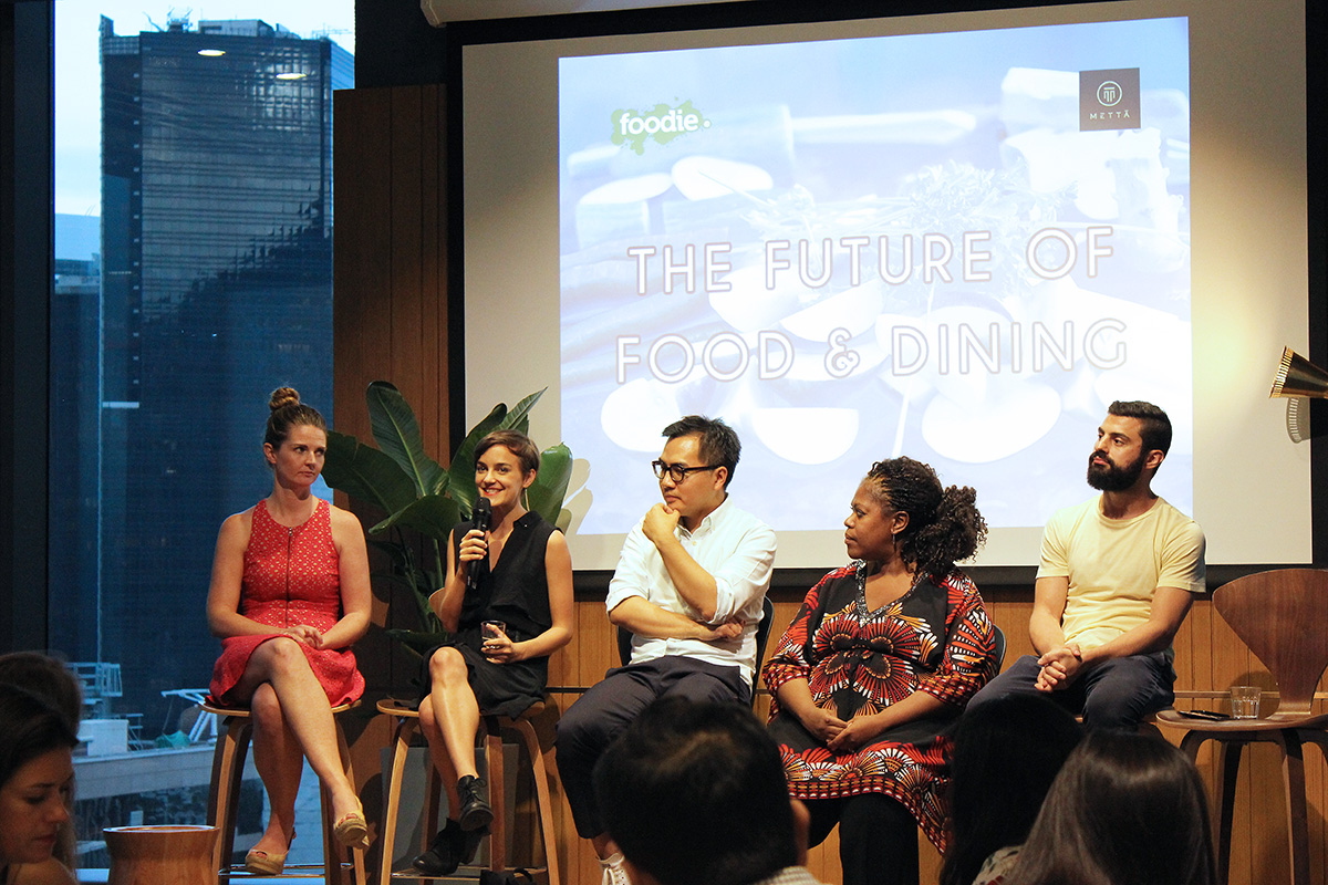 From left to right: Alicia Walker; editor-in-chief at Foodie, Katharina Unger; founder of Livin Farms, David Yeung; founder of Green Monday, Lori Granito; founder of Kitchen Sync, and Vinny Lauria; group executive chef at Homegrown Foods