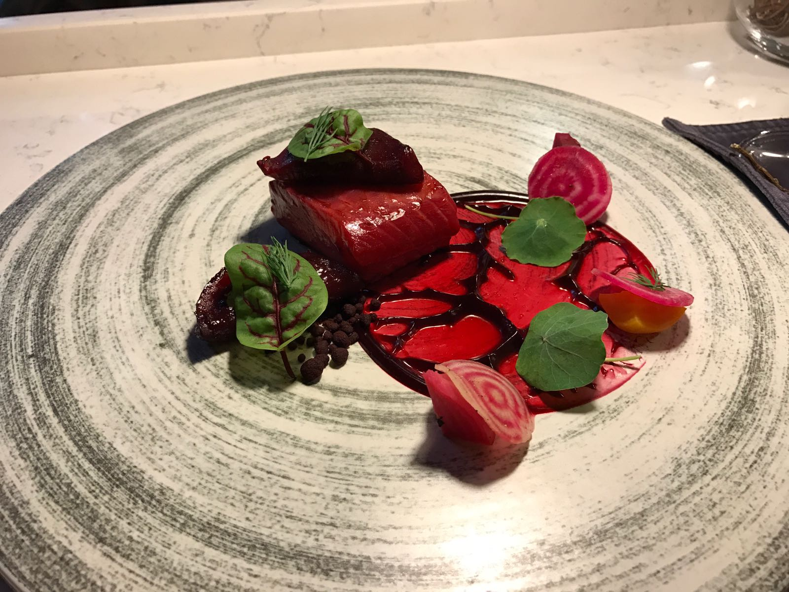 Straight outta a crime scene - Trout, Beetroot, Smoked Ox Tongue, Horseradish