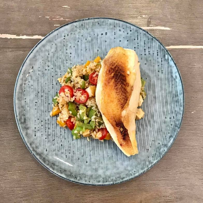 Slow Cooked Chicken:Slow Cooked Free Range Hormone Free French Chicken with a Vegan Fried Brown Rice