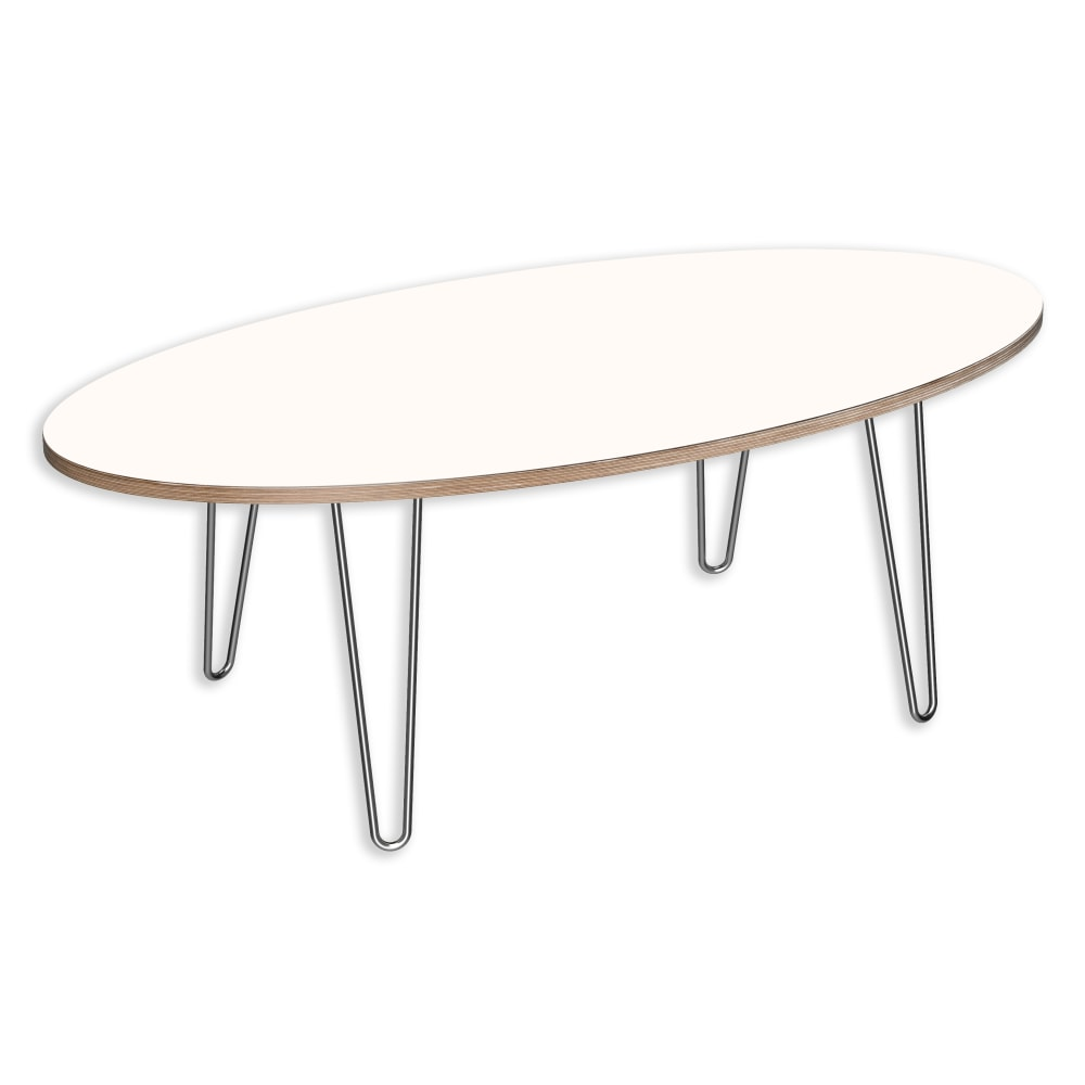 Image for DesignerPly Oval Coffee Table Designer White 991071DT from SmartMoves Adjustable Height Desks Official Website