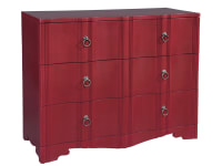 2-7617 Three Drawer Case with Shaped Front-Red,27617,cases,bedroom,living room