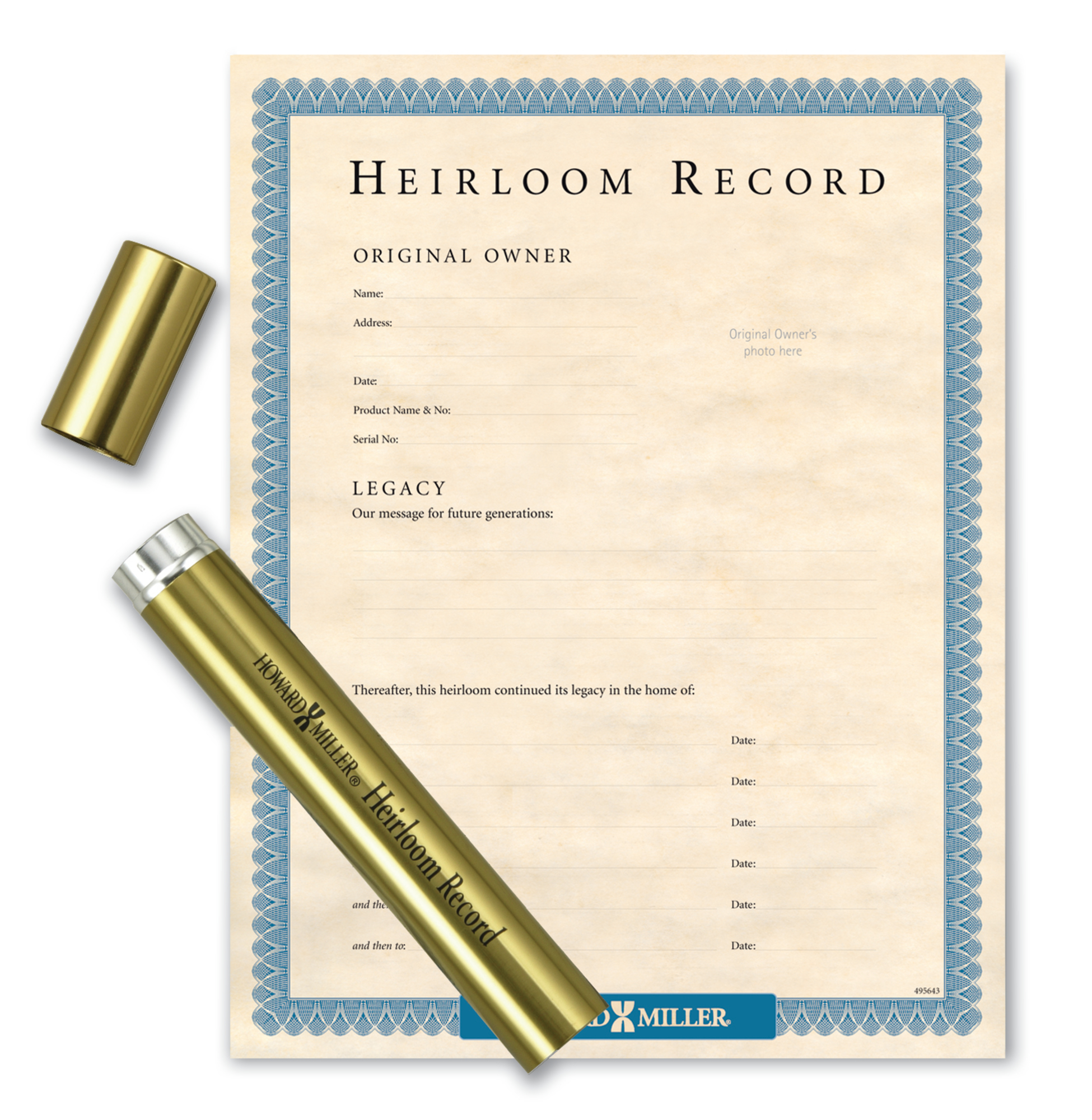Image for 610009<br>Howard MillerBrass Tube & Heirloom Document from Howard Miller Parts Store