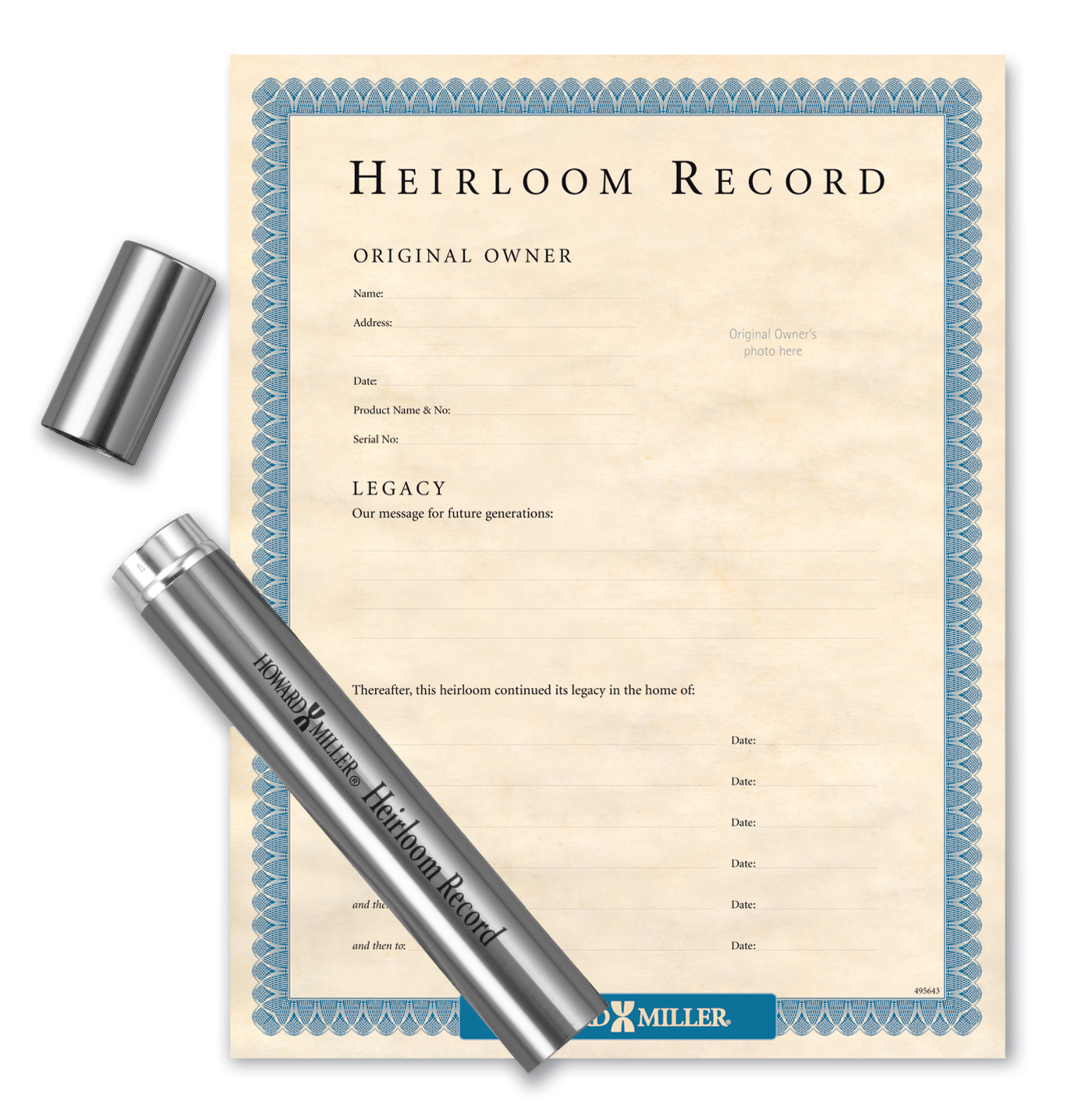Image for 610011 Howard Miller Nickel Tube & Heirloom Document from Howard Miller Parts Store