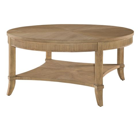 952202KH Urban Retreat Round Coffee Table with Reeded Apron