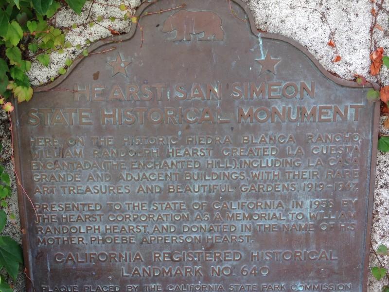 NO. 640  HEARST SAN SIMEON - State Plaque