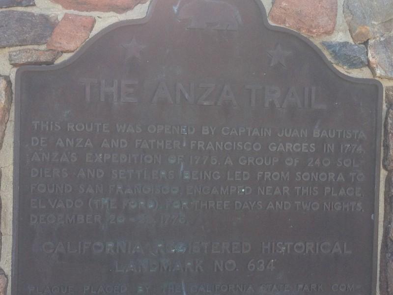 NO. 634 EL VADO  (The Anza Trail) - State Plaque