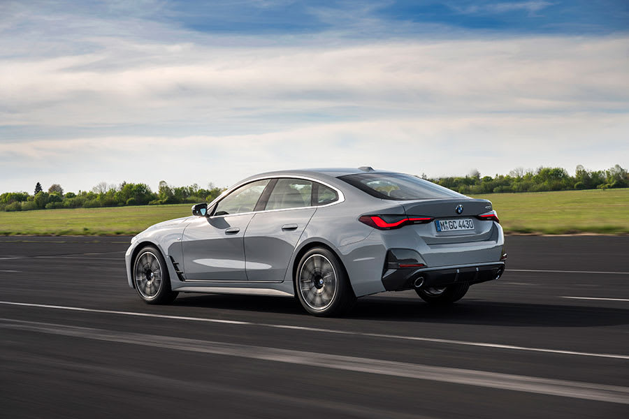 New BMW 4 series gran coupe rear side view moving