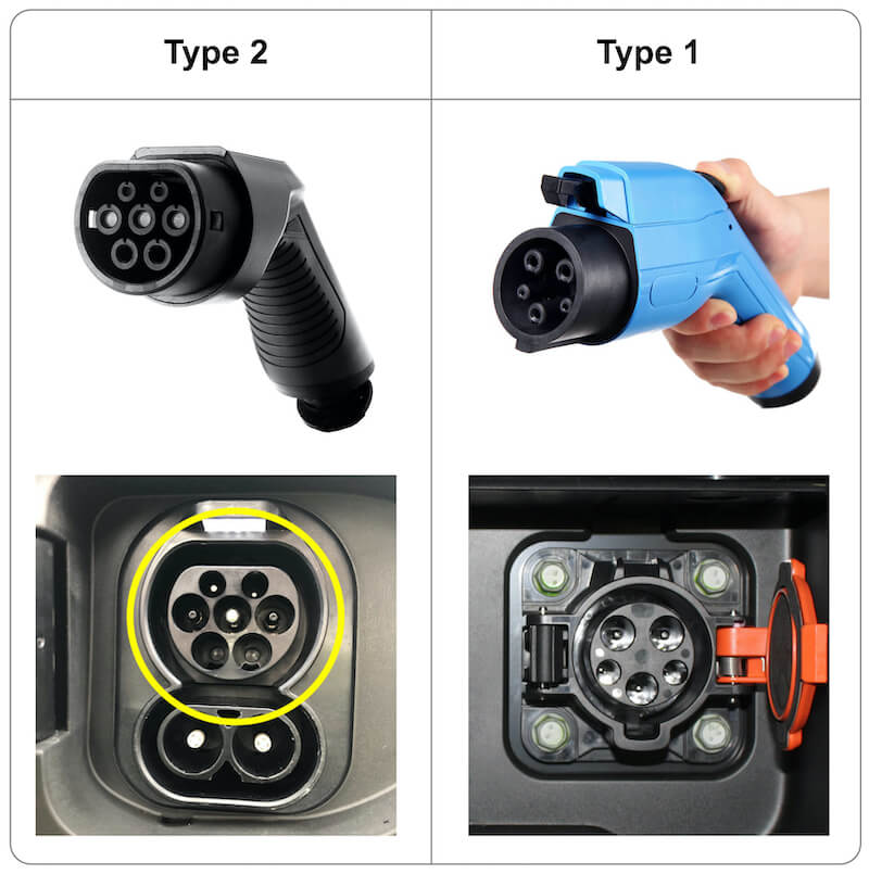 Type 1 & Type 2 charging plugs