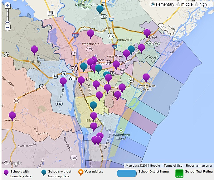 Wilmington NC area school district map
