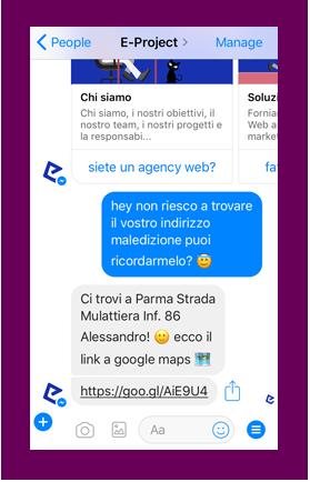 eproject chatbot risponde alla richiesta di indirizzo