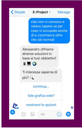 eproject chatbot risponde alla richiesta di info sull'azienda