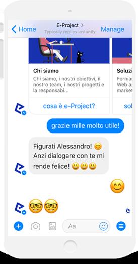 eproject chatbot risponde ad un ringraziamento in modo simpatico
