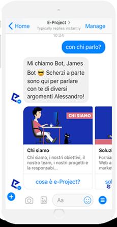 eproject chatbot risponde alla richiesta di informazioni sul proprio conto in tono scherzoso