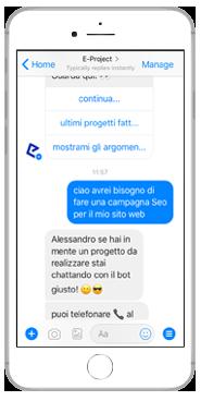 eproject chatbot risponde alla richiesta di contatto per la realizzazione di un sito