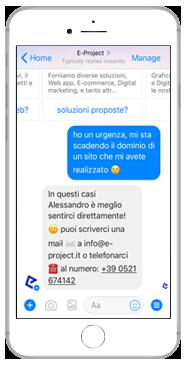 eproject chatbot risponde alla richiesta di assistenza