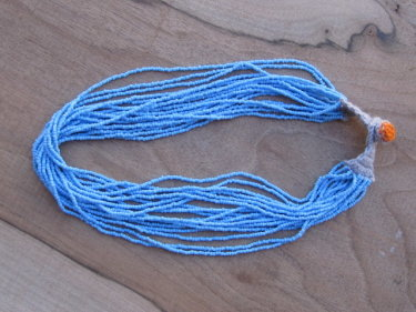 Light Blue Thread Beaded Necklace
