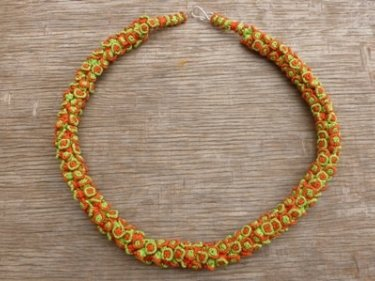 Green, Orange Cluster Necklace