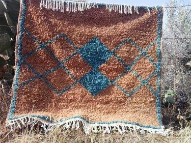 Light Blue, Brown Pile Rug